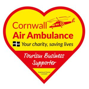 Charitable Donations - Image of the Cornwall Air Ambulance heart shaped 'Tourism Business Supporter' logo.